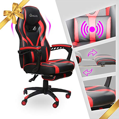 LUCKWIND Video Gaming Chair Racing Recliner - Ergonomic Adjustable Padded Armrest Swivel High Back...