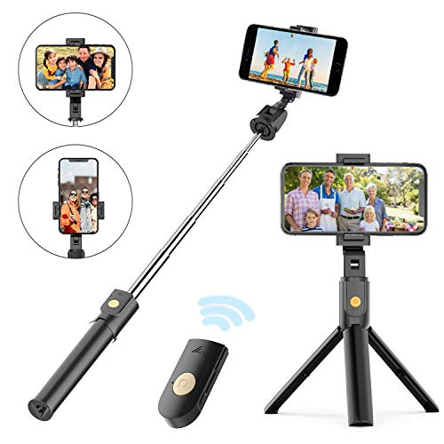 Selfie Stick Tripod, Extendable Bluetooth Selfie Stick with Wireless Remote, Compatible with iPhone 11/11 pro/X/8/8P/7/7P/6s/6, Sumsung Galaxy S9/S8/S7/Note 9/8, Huawei and More
