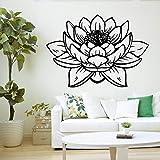 Geiqianjiumai Meditation Vinyl Wandaufkleber dekorative Lotusblume Buddha Wandtattoo Wandbild Tapete 57X89CM