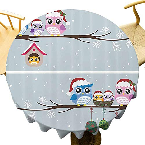 VICWOWONE Christmas Tablecloth - 60 Inch Round tablecloth polyester Christmas Decorated restaurant Owl Family with Santa Hats on Tree Branch with Babies in Nest Birds Snowy Winter Print Grey