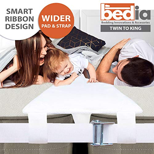 """BEDIA Bed Bridge Connector   Twin to King Converter Kit with Strap   Adjustable Mattress Connector for Bed   25D Memory Foam   12"""" Design   Non-Slip   Storage Bag Included (Twin to King)"""