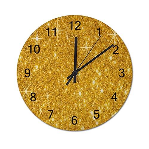 Reloj de Pared Vintage,Barra Resplandor Dorado Brilla,Relojes de Pared de Madera silenciosos Que no Hacen tictac,Reloj de Pared rústico de Granja para la decoración del Dormitorio de la Sala de Estar