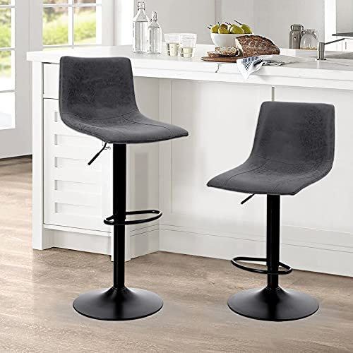 ALPHA HOME Bar Stools Counter Height Adjustable Bar Chair 360 Degree Swivel Seat Modern Square Pu...