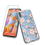 Vinve Samsung Galaxy A11 Case with Screen Protector, Clear Flower Design Hard PC Back+ TPU Bumper Protective Slim Case for Galaxy A11 (Peach Blossom)