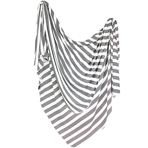 Large Premium Knit Baby Swaddle Receiving Blanket Black and White Tribe by Copper Pearl