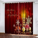 MXYHDZ Cortinas Dormitorio Opacas - Vela roja de Navidad Impresión...