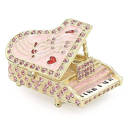 TEAYASON Caja de Joyería con Forma de Piano Vintage Caja de Anillo Hecha a Mano Exquisita con Caja de Baratija de Joyería de Diseño con Incrustaciones de Diamantes para Boda,Rosa