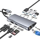 FLYLAND Hub USB C, Adaptador Tipo C Hub con 1080P VGA, Conector de Audio de 3.5 mm, 4K HDMI, Ethernet RJ45, 4 Puertos USB 3.0/2.0, Puerto USB-C PD, Hub Lector de Tarjetas SD/TF para Macbook y más.