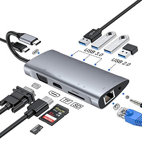 Hub USB C, adattatore hub di tipo C con VGA 1080P, jack audio da 3,5 mm, 4K HDMI, Ethernet RJ45, 4 porte USB 3.0   2.0, porta PD USB-C, hub lettore di schede SD   TF per Macbook, Dex e altro (grey)