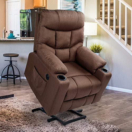 Esright Fabric Power Lift Chair Electric Recliner for Elderly, Vibration Massage Chair with Heater, 2 Cup Hoders, USB Outlet & Remote Control, Brown