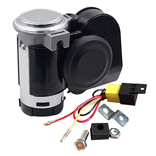 SoundOriginal 12Volt Loud Car Air Horn Big Truck Horn 125db with Automotive Relay Electric Horn for Truck Car Motorcycle Black