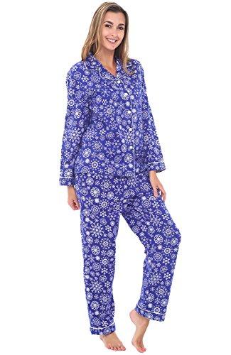 Alexander Del Rossa Women's Warm Flannel Pajama Set, Long Button Down Cotton Pjs, Small Snowflakes on Blue (A0509Q57SM)
