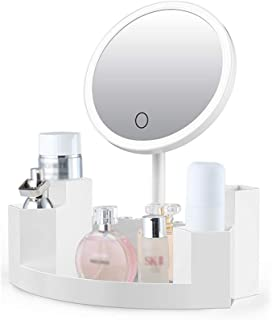 LED Lighted Vanity Makeup Mirror with Cosmetic Organiser - Dimmable Natural Light, Touch Screen, USB Chargeable Built-in 2000mAh Lithium Battery Countertop Mirror,White
