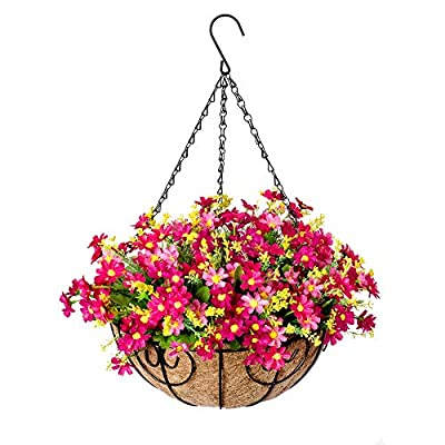 Hanging Flowers Basket, Artificial Daisy Flowers in Coconut Lining Hanging Baskets for The Decoration of Courtyard, Outdoors, and Indoors (Pink)