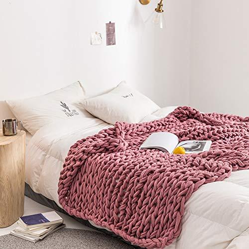 DONGMIAN Chunky Knit Blanket, handgemaakte grote kroonige garen breideken grote kabels gebreide deken zachte gezellige deken voor boerenhuis bank of bank 130 x 160 cm
