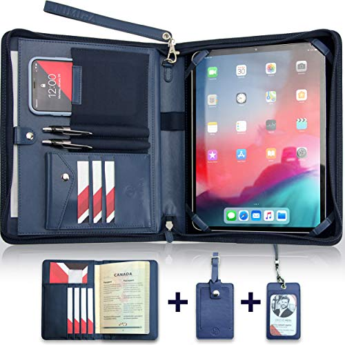 """UNIMIRA Zippered Leather Portfolio for Ipad Pro 11"""" 2020, Navy Blue Tablet Padfolio Sleeve, Travel Organizer Case, Professional Resume Binder for Men and Women, Also Fit iPad 10.2 & iPad Air 2020"""