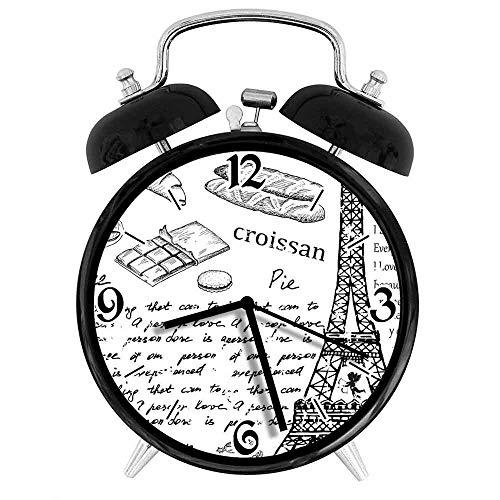77 xiochgzish Digitaler Wecker Paris Traditionelle berühmte Pariser Elemente Bonjour Croissan Kaffee Eiffelturm Geeignet für Büro Schlafzimmer Studie