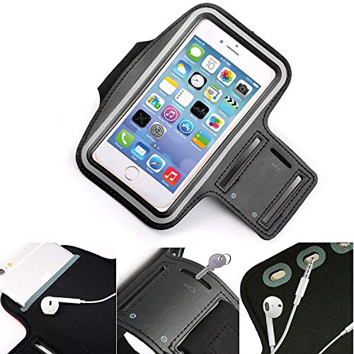 DOT. Universal Handy Halter Schweiß Resistant Laufschuhe Sport Trainieren Fitnessstudio Armband für Oppo Reno oder Jedes Display zwischen 5.2-5.8 Zoll - Schlüsselhalter - Verstellbarer Gurt - Schwarz
