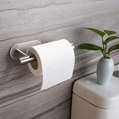 weichuang Portarrollos de papel higiénico de pared para el hogar, soporte de papel higiénico autoadhesivo, para el baño, en la pared, de acero inoxidable (color: 1 unidad)