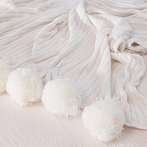 Amorus 毛布 ダブル 北欧 綿 掛け毛布 じゅうたん おしゃれ コットン ブランケット ニット ポンポン ふわふわ 柔らかい 暖かい (150*200cm, ホワイト)