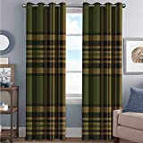 Plaid 85%-95% Blackout Lining Curtain Tartan Pattern in Autumn Tones Old Fashioned Design Country Illustration Full Shading Treatment Kitchen Insulation Curtain W84 x L108 Inch Olive Green Mustard