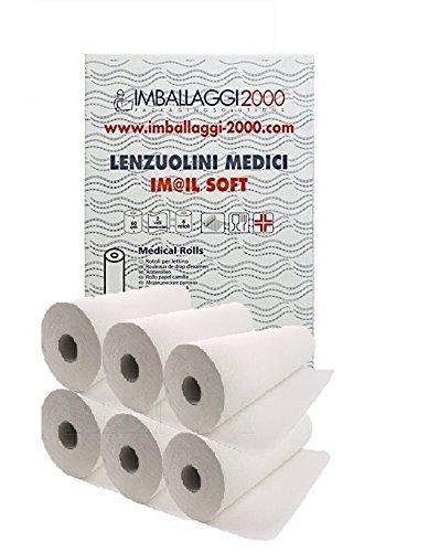 IMBALLAGGI 2000 - Rotoli Carta Lettino Massaggio, Medico o Estetista - 6 Rotoli Lenzuolino - 0,6x75 mt - Confezione da 1 Scatola