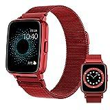 HQPCAHL Smartwatch, Fitness Uhr mit Pulsuhr Bluetooth Telefonie Temperaturmessung Pulsuhr Blutdruck Blutsauerstoff Schlaferkennung Musiksteuerung Sportuhr für iOS Android,Metalic red