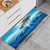 WOTAKA Alfombra de Cocina,Vida Azul Escena submarina Peces Concha Animales Vida Silvestre Naturaleza Burbuja Colorido Acuario Peces Profundo,Alfombrilla de Cocina Antideslizante Gruesa(45*120cm