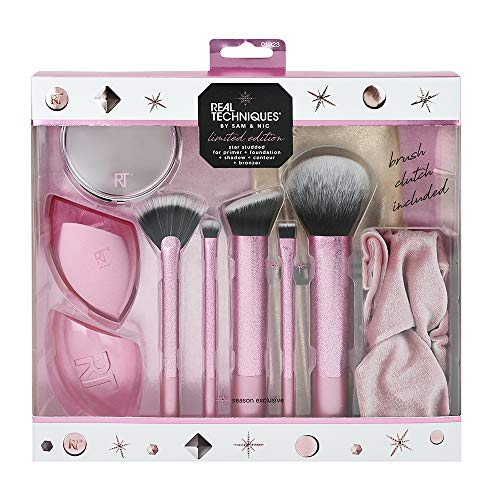 Real Techniques Limited Edition - Set di pennelli da trucco a forma di stella, con frizione, fascia per capelli e specchio compatto, colore: rosa