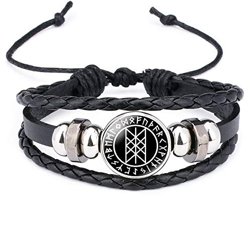 Pulsera Hombre Cuero,Mens Leather Bracelet,Vintage Viking 24 Amulet Runes Black Beaded Leather Bracelets With Adjustable Punk Multilayer Bangle Cuff Wrap Wristband For Women Husband Teens Chrismas G