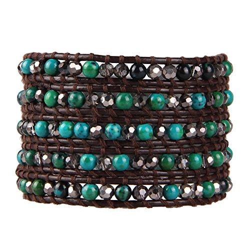 KELITCH Synthetisch Türkis Kristall AB Perlen 5 Wicklen Armband aus Schwarz Leder Sommer Schmuck (Grün)