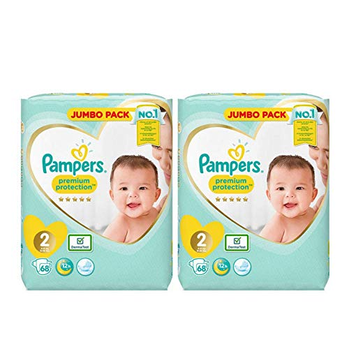 Aetn Pampers Größe 2 Premium Protection Jumbo Plus Vorteilspackung 2 Packungen 68 = 136 Windeln, seidige Weichheit, bester Schutz für Neugeborene, komplett mit eBook Baby Kleinkind Tipps