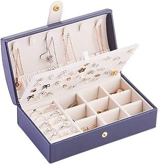 PU Jewelry Box, Jewelry Organizer, Makeup Case, Small Jewelry Box, 3 Layers Portable Jewelry Box for Women Girls Ladies