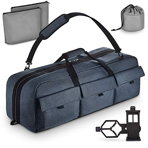 Multipurpose Telescope Case - Fits Most Telescopes - 30x11.5X10 inch - Smart Phone Adapter Included