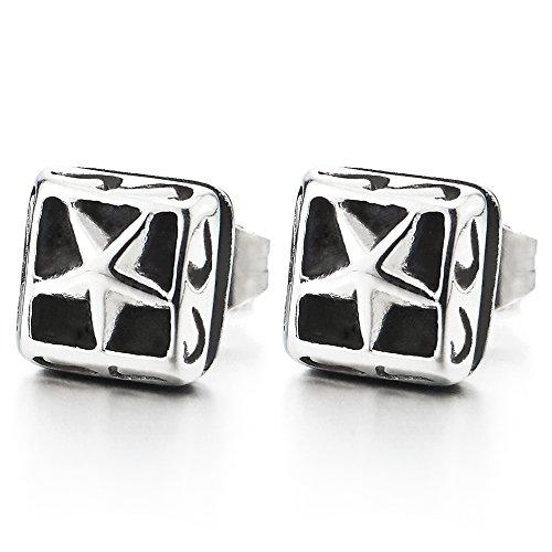 Plata Negro Pentagrama Estrella Cuadrado Pendientes de Hombres de Mujer, Acero Inoxidable, 2 Piezas