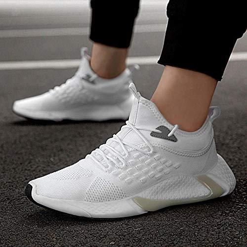 Aerlan Treaded Sole Trainers,Calzado de Fitness para Trail Running,Zapatos Casuales para Hombre, Zapatillas de Deporte de Moda, Zapatos voladores-White_45#