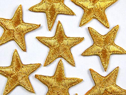 Packung mit 10 Gold Aufbügeln oder nähen-auf-Sterne-Patch