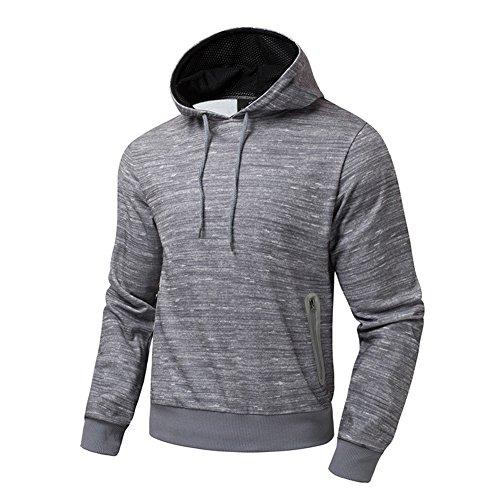 BicRad Herren Sweatshirt Kapuzenshirt Outdoor Sport Sweater Pulli Hoodie Freizeit (S(Brust: 104CM / 40.9INCH), Hell Grau)