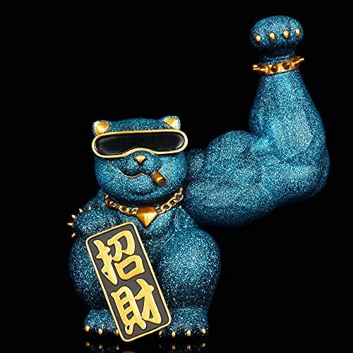 Akazan 32cm Large Blue Lucky Cat, Rich Cat, Strong Muscle Giant Arm, Net Celebrity Jewelry Store Regalo De Apertura Anime PVC Figura Juguetes Edición Limitada Modelo Static Statue Gift