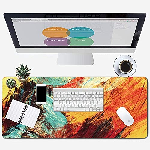 Galdas Gaming Mouse Pad XXL XL Large Mouse Pad Long Extended Big Mousepad Non-Slip Rubber Keyboard Mouse Pad with Stitched Edges for Laptop Home Office (31.5x11.8x0.08 Inch) … (Watercolor Art)