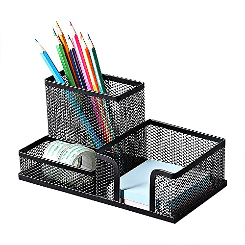 Deli Mesh Desk Organizer Office Supplies Caddy with Pencil Holder and Storage Baskets for Desk...