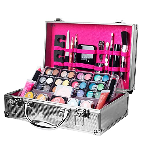 Dawn Till Dusk by Envie 54 Piece Make Up Set and Travel Makeup Organiser Storage Box - Makeup Organiser Comes With Make Up Kit, Compact Mirror and Much More (Silver)