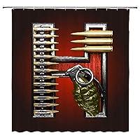 弾丸の武器を持つ軍事英語の手紙浴室の窓の装飾のための生地のホックが付いているポリエステル防水シャワー・カーテン60X72in