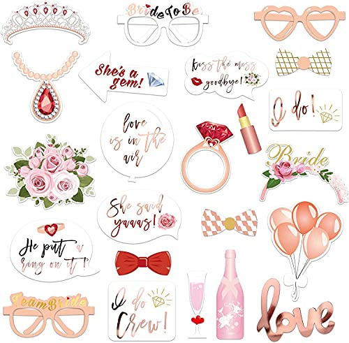 33 piezas de accesorios para cabina de fotos de boda para despedida de soltera de oro rosa metálico con palos para niñas noche despedida de soltera accesorios de regalo