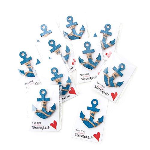20 kleine blaue Schiffsanker Anker Holz Gastgeschenke NUR EINE KLEINIGKEIT Herz rot mit Karte in Folie fertig verpackt als Tischschmuck zum Mitnehmen f. Gäste Hochzeit Kommunion Mitgebsel Seminar