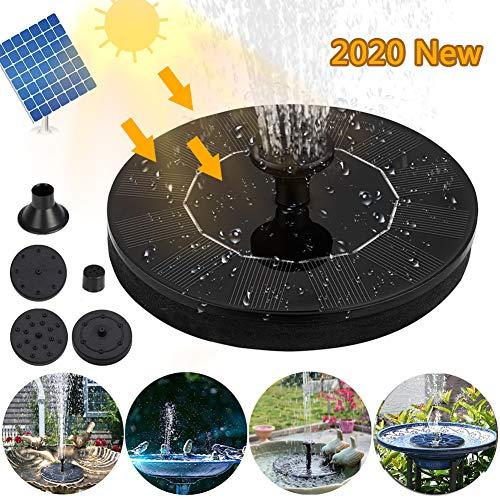 JTENG Solar Springbrunnen, 1.4W Solar Teichpumpe, Solar Schwimmender Fontäne Pumpe mit 4 Fontänenstile für Gartenteich Oder Springbrunnen Vogel-Bad Fisch-Behälter