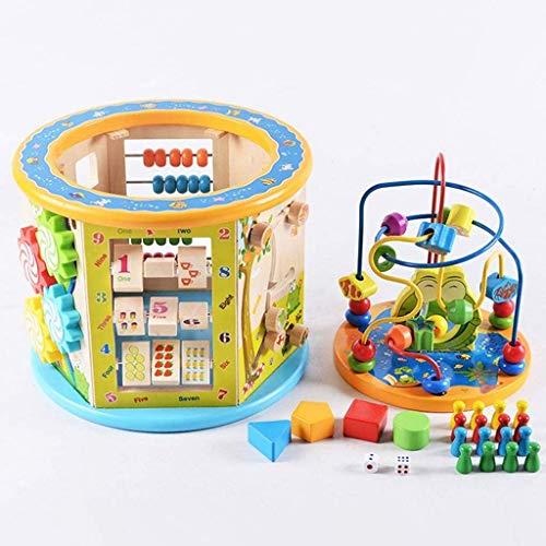 Cubo de actividades, caja de actividades Laberinto de cuentas, multifunción Juguetes educativos para niños para bebés Cubo de actividades de madera Juguetes Cubo de juegos Centro de actividades