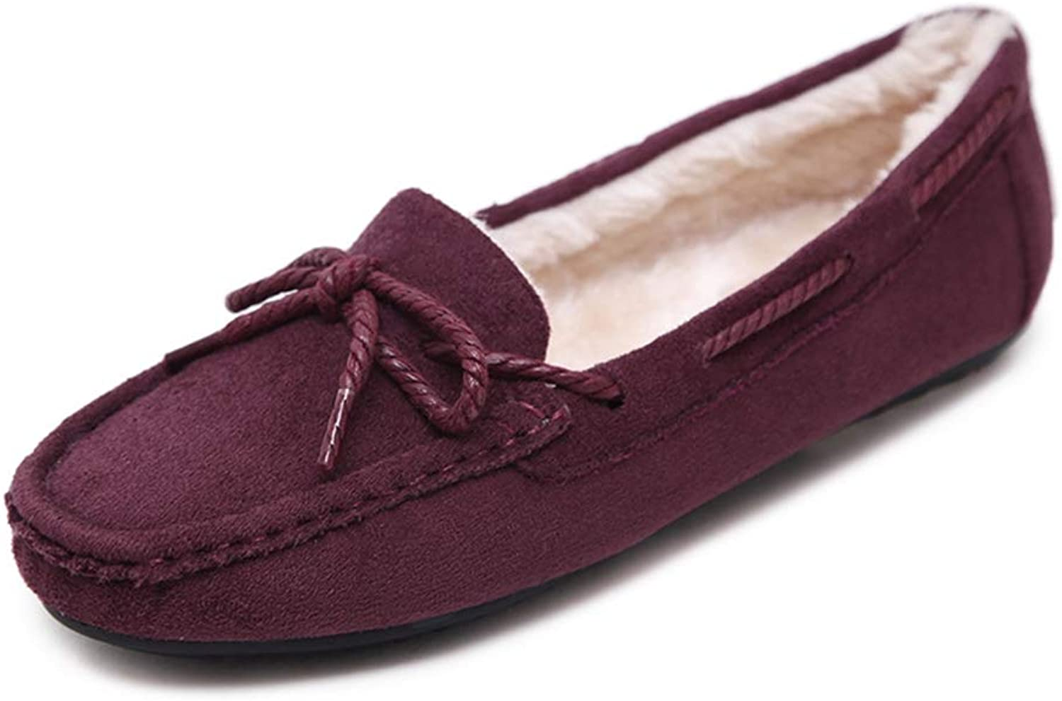 T-JULY Winter Warm Flats Ladies Loafers Women Slip on Round Toe Soft Bowknot Casual shoes Plush Low Heels