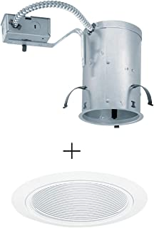 Juno Lighting IC20R & 205-WWH 5-inch IC-Rated Remodel Recessed Housing w/Downlight Baffle Trim, White