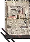 1art1 Juego De Tronos Póster (91x61 cm) You Win Or You Die, Infografía Y 1 Lote De 2 Varillas Negras